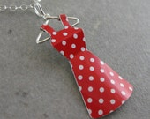 Recycled Tin Mini Dress Necklace- No. 96 Red w/ White Polka dots
