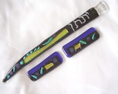 Custom Torah Pointer and Tallit Clip Set in Fused Glass