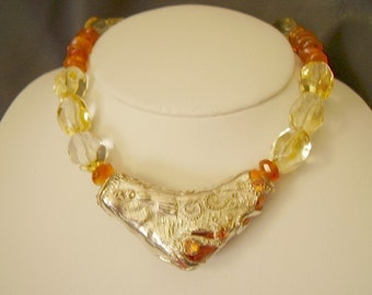 Amber Citrine Carnelian and Fine Silver Wearable Art Piece