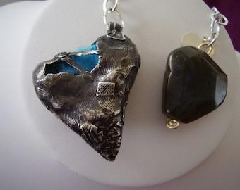Fine Silver  3-D Wrap style Heart Necklace