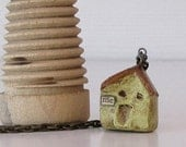 Tiny Little Paper Mache House on a 34 inch Antiqued Brass Chain - Me