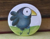 Happy Big Eyed Crow - 2.25 Inch Pinback Button