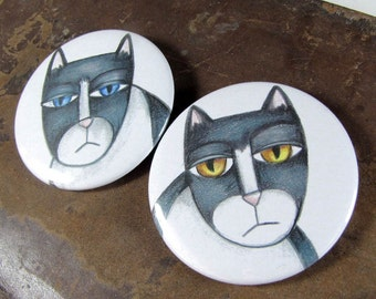 Portable Pocket Mirrors - Black and White Tuxedo Cats - 2 1/4 inch Hand Pressed