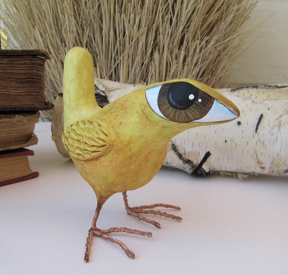 paper mache art sculpture bruce a big eyed bird by fishstikks. Black Bedroom Furniture Sets. Home Design Ideas