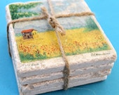 Marble coasters - Italian Watercolor Landscapes