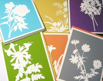 Summer floral silhouette cards