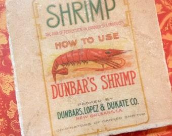 Marble trivet - Shrimp label