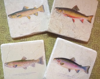 Marble coasters - Fly fishing