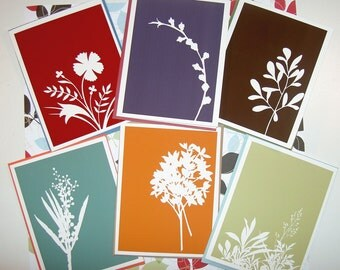 Floral silhouette cards
