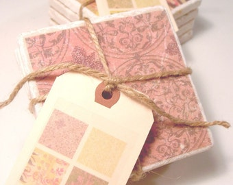 Marble coasters - pink, yellow and gray textiles