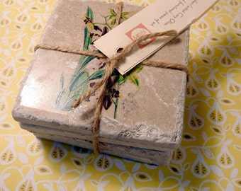 Marble coasters - Vintage orchids