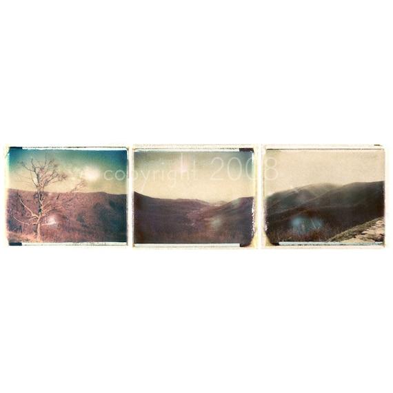 Polaroid transfer Skyline Drive in the Fall triptych