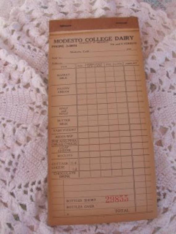 Vintage Order Sales Booklet Modesto College Dairy Ticket Book   LAST ONE