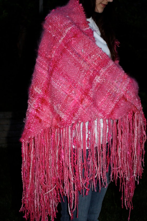 Handwoven Shawl Made with Hand Spun and Hand Dyed Yarns