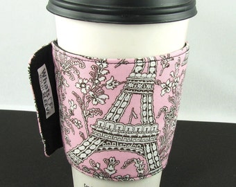 Whats Up Your Sleeve Insulated Reusable Cloth Fabric Iced Coffee Sleeve Eiffel Tower