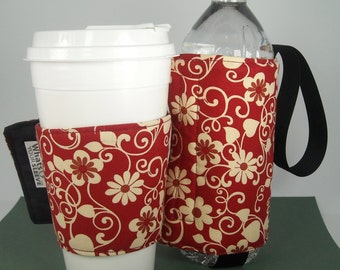 Whats Up Your Sleeve Gift Set Fabric Coffee Sleeve with Insulated Water Sleeve Rusty Vines