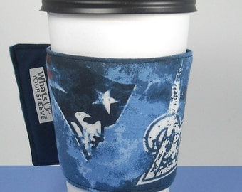 Patriots Whats Up Your Sleeve Reusable Fabric Coffee Sleeve New England Patriots