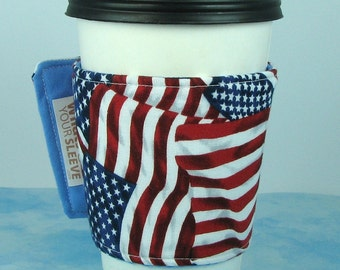 Whats Up Your Sleeve Cloth Fabric Insulated Reusable Ice Coffee Sleeve American Flag