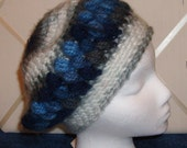 Crochet Hat Blue, Soft Stormy Gray White Charcoal, Handmade, Slouch Thinking Cap, Beret, Chemo