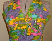 Vintage Maxi Dress, Halter Style, Mod Bright,  Psychedelic Costume