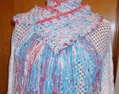 Cotton Candy Scarf, Handmade Crochet, Aqua White Rose, Soft like a Rag Rug, Cottage Chic