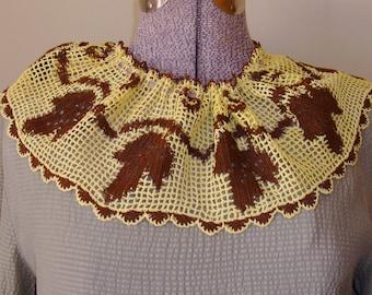 Vintage Handmade Crocheted Collar, Brown, Yellow, Handmade, Filet Leaf, Leaves Motifs, Autumn, Embellishment, Sewing Notions