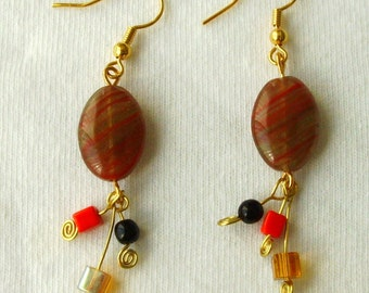 Dancing Glass Earrings, Flirty, Funky, Dangle, Beaded, Red, Black, Gold