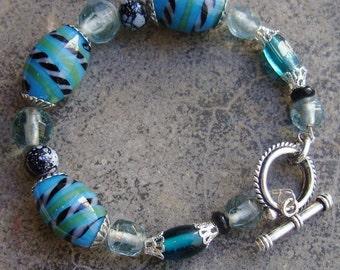 Handmade Artisan Bracelet, Glass Beads, Blue Silver, Black speckled aquamarine, Chunky