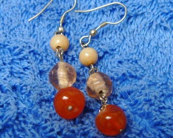 Earrings Glass Bead Orange Mod Modern Gypsy Apricot Mango Bohemian Movement