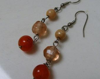 Glass Beaded Earrings, Gypsy Beads,  Apricot Mango, Movement, Orange, Mod