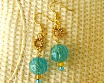 Handmade Artisan Earrings, My Beautiful Balloon, Blown Glass, Aqua Yellow Golden Dangle