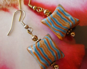 Chunky Earrings, Warm Brown Turquoise, Hippie Gypsy Beads, Polymer Clay, Pierced, Casual Summer Jewelry