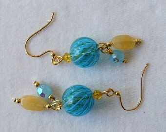Earrings Turquoise Yellow, Blown Glass, Swarovski, GP Beads, Dangle, Aqua Amber