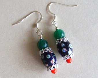Vintage Bead Earrings, Rescued Navy Glass, Silver Drop, Red Green, Candy Bright