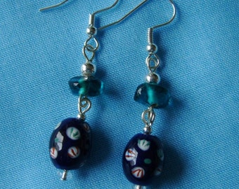 Handmade Artisan Earrings, Art Glass, Teal, Navy, Silver, Cool, Colorful