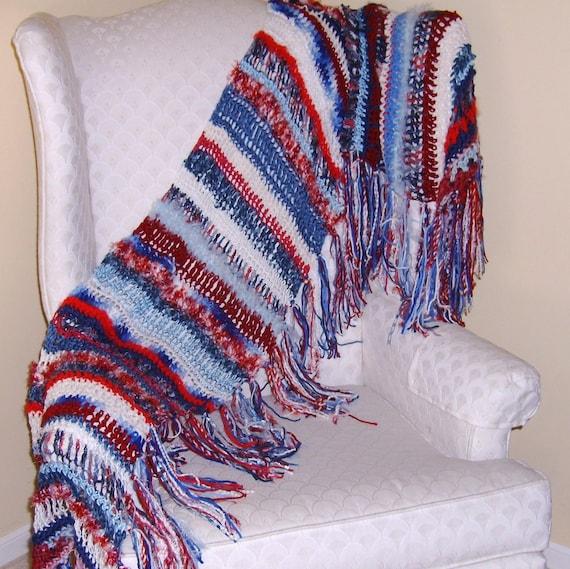 Crochet American Flag Scarf Pattern : American Flag Patriotic Shawl Scarf Red White Blue Freeform