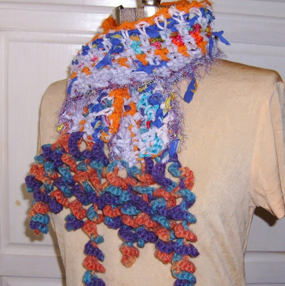Items similar to Grandma s Quilt Crochet Scarf, Freeform Crocheted, Boho Gypsy, Mulitcolored Rag ...