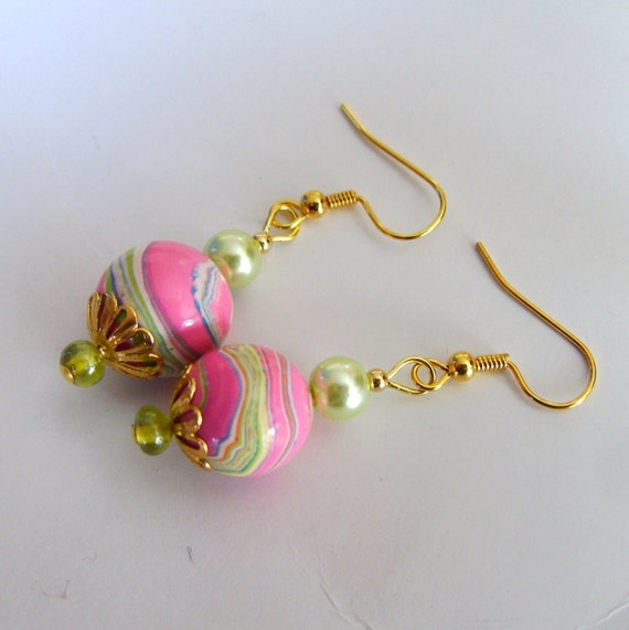 Handmade Beaded Earrings, Pink Gum Ball, Lime Green Ribbon Candy, Polymer Clay Glass