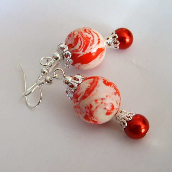 Earrings Red White, Fresh Peppermint Candy Cane, Silver Polymer Glass Beaded