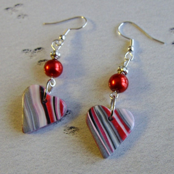Beaded Heart Earrings Striped Red Silver Polymer Clay Valentine Glass Pearls