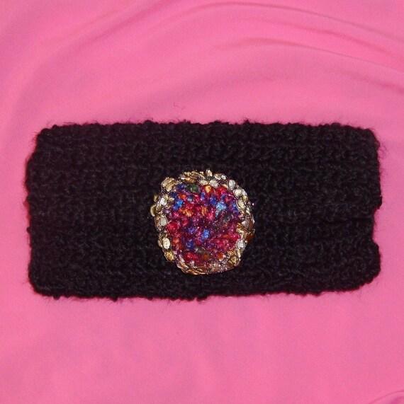 Black Clutch Purse, Handmade Crochet, Lined, Metallic Trim, Sparkly, Evening