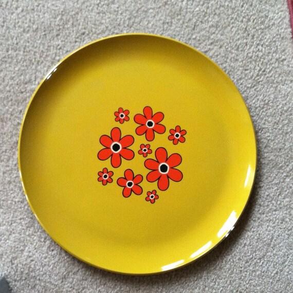 Melamine Pop Art Flower Power Tray Vintage Plastic Serving Made in Japan Yellow with Orange Flowers