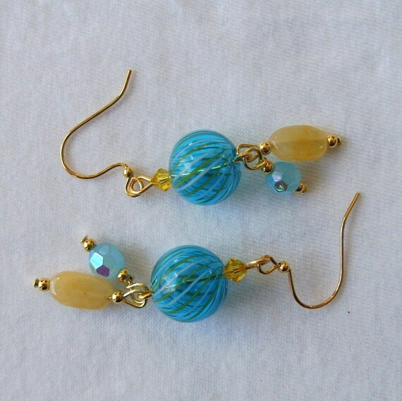 Earrings Turquoise Yellow, Blown Glass, Swarovski, GP Beads, Dangle, Aqua Amber
