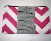 ON SALE Ruffle Chevron Zipper Pouch - Pink