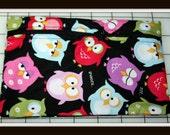 Handmade Zippered Clutch Bag - Owls Galore