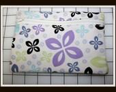 Handmade Zippered Clutch Bag - Pastel Flowers