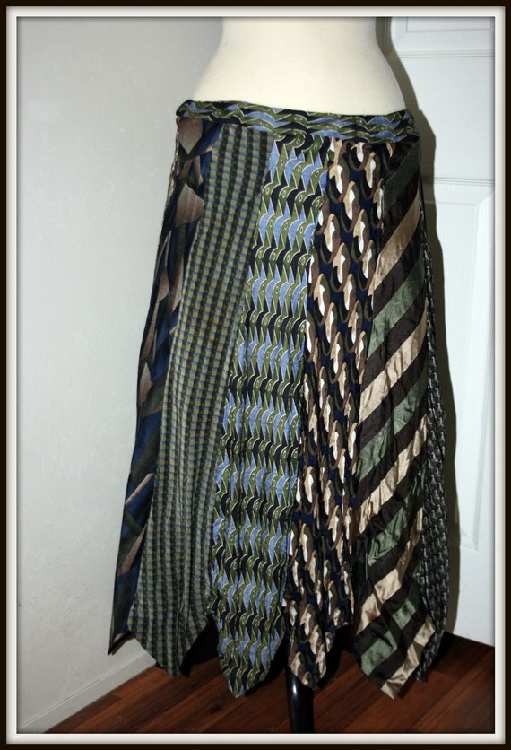 Upcycled Men's Necktie Skirt in Greens S M L Up to 44""