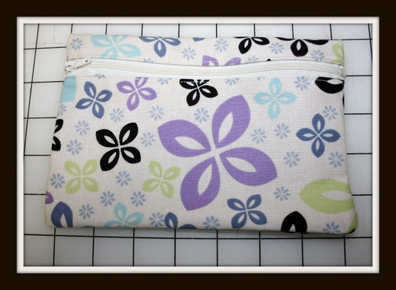 Handmade Zippered Clutch Bag - Pastel Flowers