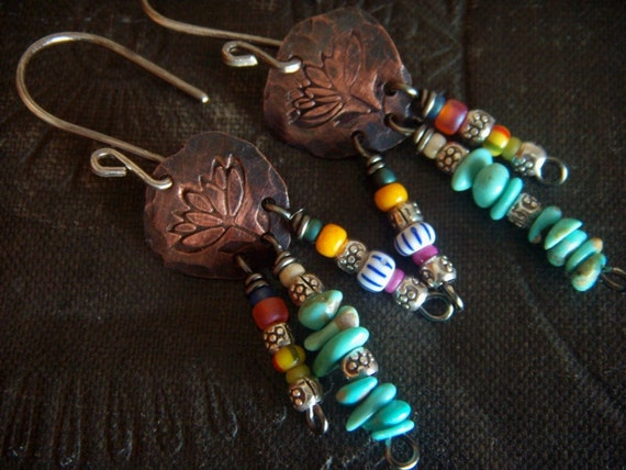 RESERVED-Lotus, Turquoise and Hill Tribe Silver Earrings