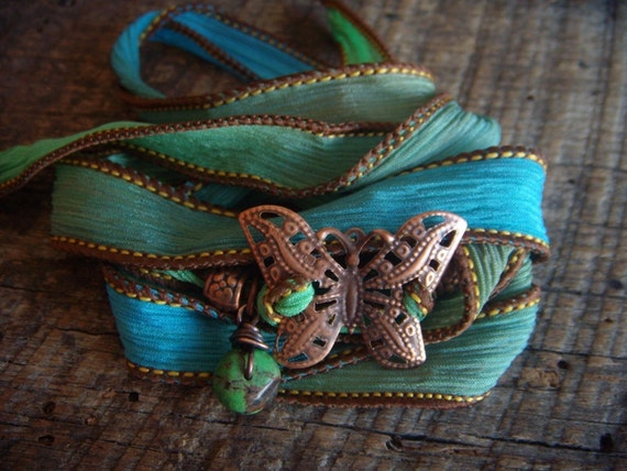 Hand Dyed Silk and Copper Monarch Wrist Wrap